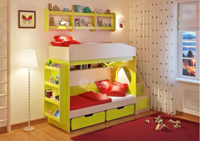 <span>Двухъярусная кровать</span> Легенда 10.3 с полками