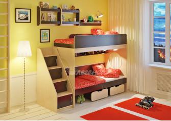 <span>Двухъярусная кровать</span> Легенда 7.3 с полками
