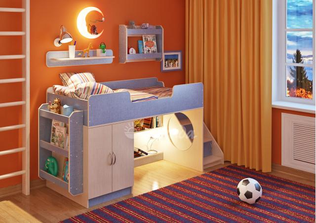 Детская кровать  Легенда 2.4 с полками