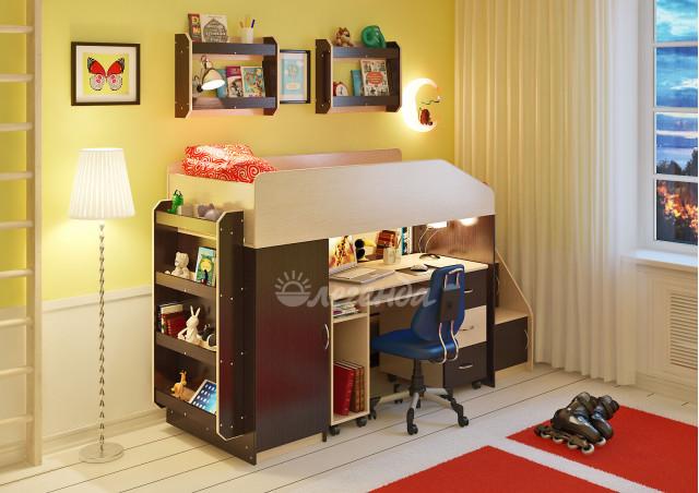 Кровать чердак Легенда 11.4 с полками