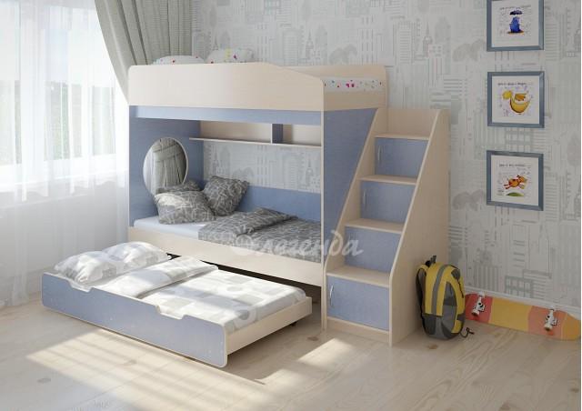 <span>Трехъярусная кровать выкатная</span> Легенда 10.5