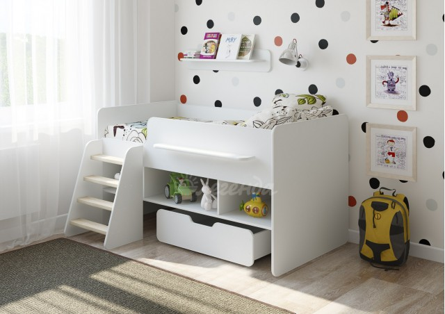 <span>Детская кровать от 3 лет </span>Легенда 6 белая