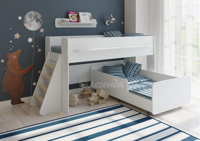 <span>Двухъярусная кровать выкатная</span> Легенда 23.3 белая