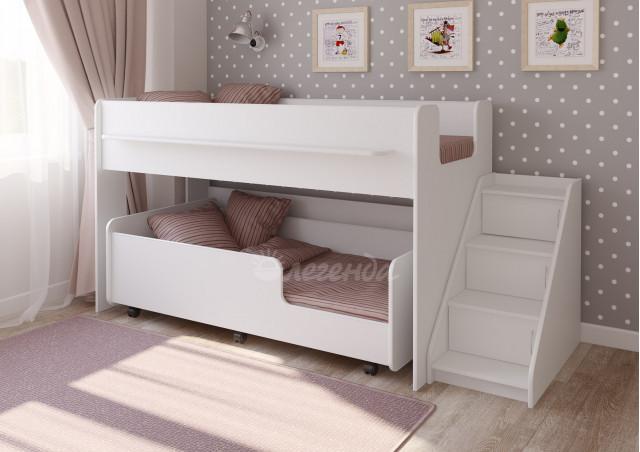 <span>Двухъярусная кровать выкатная</span> Легенда 23.4 белая