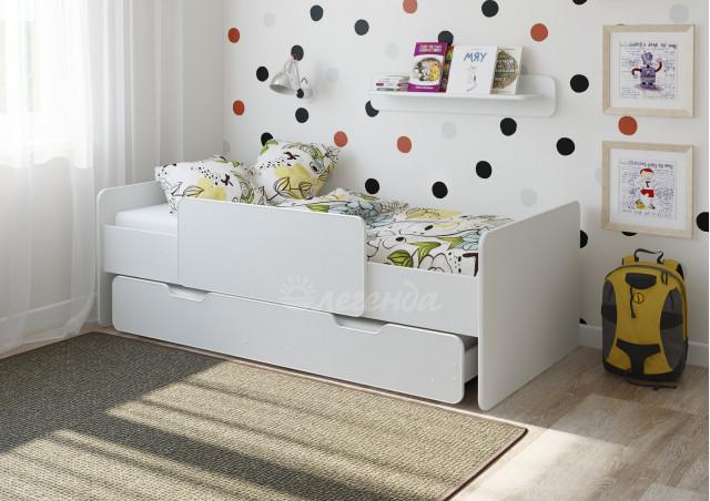 Детская выдвижная кровать Легенда 14.2 белая