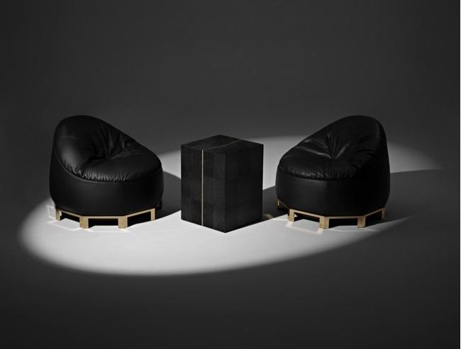Коллекция мебели из кожи на основе бескаркасных кресел