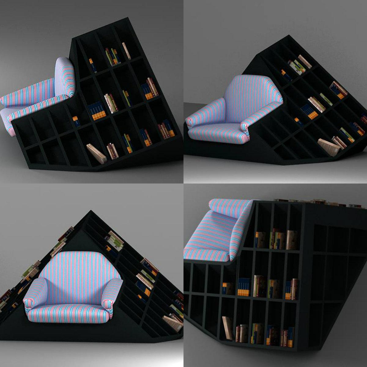 Книжный шкаф со встроенным креслом