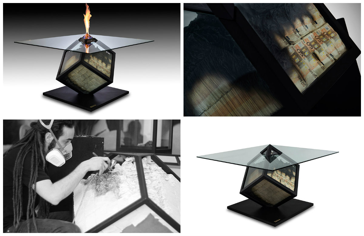 Дизайнерский стол с горящими купюрами